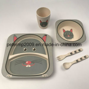 Bamboo Fiber Children Dinnerware Set, Dinner Plate, Bowl, Cup and Spoon Fork Set pictures & photos