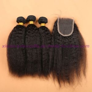8A Mongolian Virgin Hair Kinky Straight with Silk Base Closure Silk Base Closures with Bundles pictures & photos
