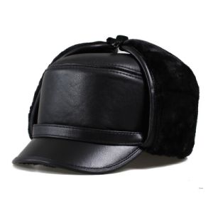 Solid Black Leather Trapper Hat pictures & photos