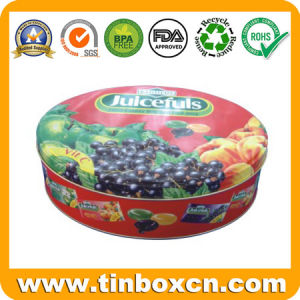 Food Grade Round Fruit Candy Tin Box, Confectionary Tin pictures & photos