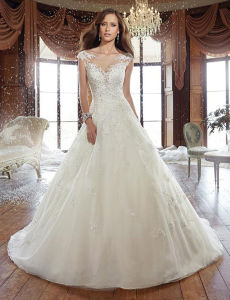 Hot Slim Undefined Waistline Sleeveless A-Line Wedding Dress with Applique pictures & photos