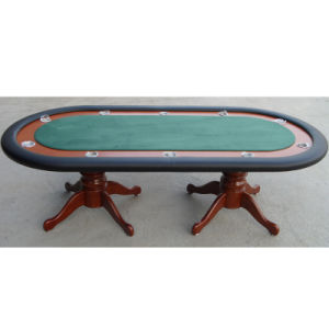 Elegant High Roller Poker Table with Wooden Legs pictures & photos