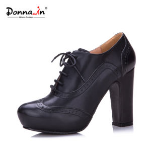 Lady Leather High Heels Pumps Oxford Platform Women Casual Shoes pictures & photos