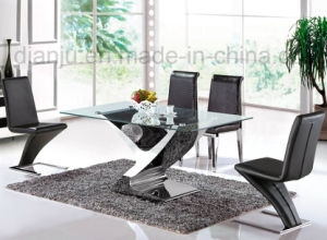 Home Furniture Stainless Steel Glass Dining Table (A6033) pictures & photos