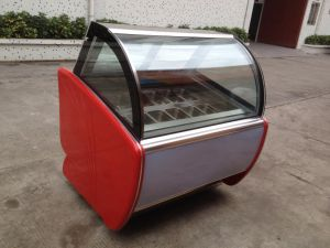 Double Glasses Ice Cream Cabinet with CE pictures & photos