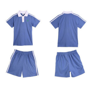 Factory Cotton Blue Primary School Uniform Polo-Tshirt and Pants pictures & photos