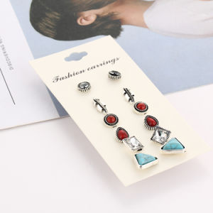 Costume Jewelry- Vintage Turquoise Crystal Stud Earrings Set Jewelry Gift pictures & photos