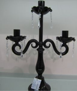 Painting Black Glass Candle Holder with Three Poster for Home Decoration pictures & photos