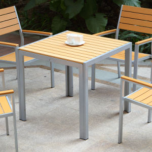 Patio Garden Outdoor Furniture Plastic Wood Table Arm Chair (J817) pictures & photos