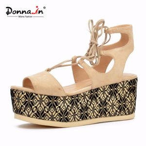 Lady Casual Lace-up High Heels Flat Weave Platform Women Sandals pictures & photos