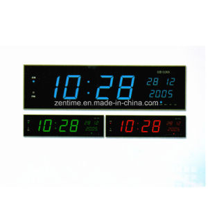 Three Color LED Big Electric Digital Time and Date Clock pictures & photos