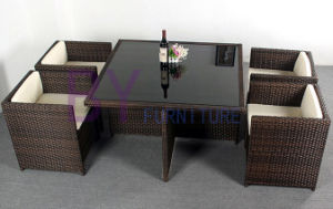 Leisure Dining Room Rattan Furniture Square Table Sets pictures & photos