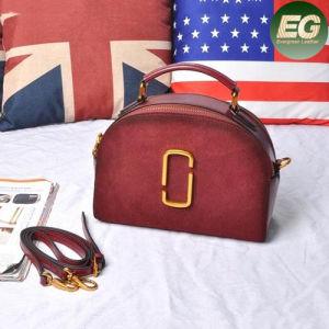 Classcial Oval Suede Leather Ladies Handbag Orginal Cow Skin Handbag Emg4794 pictures & photos