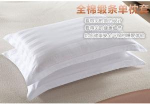Cotton White Hotel Pillowcase, Luxury Stripe Cotton Pillowcover pictures & photos