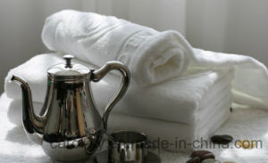 Cotton White Jacquard Embossed Woven Logo Hotel Towel pictures & photos