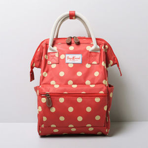 Small Size White Dots Red PVC Backpack (99239-18) pictures & photos