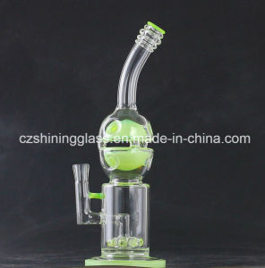 Shining Skull Shape Fluorescent Green Color Glass Smoking Water Pipe pictures & photos