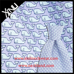 16mm Twill Custom Whale Screen Print Italian 100% Silk Fabric for Tie pictures & photos