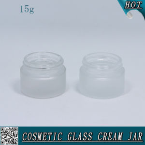 15ml 1/2 Oz Frosted Cosmetic Glass Jar for Face Cream with Metal Lid pictures & photos