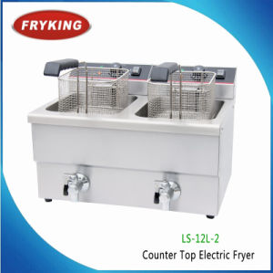 24L Commercial Electric Double Flat Chicken Fryer with Oil Vlave pictures & photos