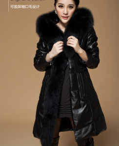 Genuine Fox Fur Medium-Long Down Female Sheepskin Leather Clothing pictures & photos