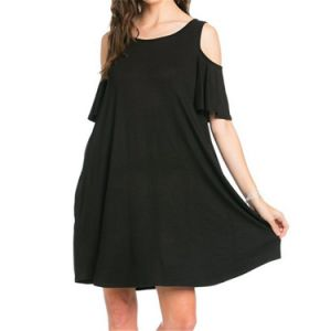 Fashion Girls Casual Simple Round Neck Short Sleeve Dresses pictures & photos