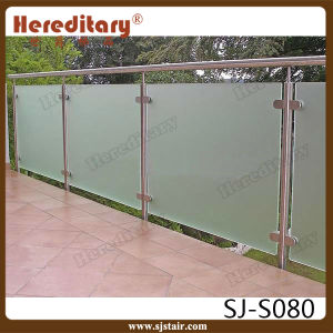Stainless Steel Frosted Glass Balustrade for Exterior Railing (SJ-S080) pictures & photos