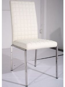 White Leather Dining Chair with Hard Metal Legs pictures & photos