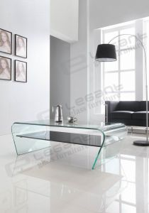 Hot Bending Glass Table and Black Shelf Glass Table pictures & photos