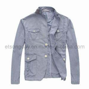 Gray 100% Cotton Men′s Casual Blazer Jacket (APC-A061C) pictures & photos