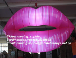 Inflatable Sexy Lips with LED Lights for Valentines Decoration