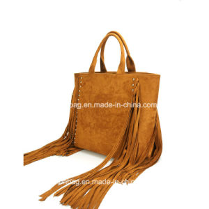 Most Popular Fashion Tassel Tote Bag Big Size Suede Shopping Handbag pictures & photos