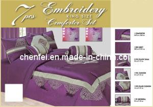 Embroidery 7PCS Comforter Set, Purple Bedding Set