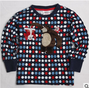 2014 The Spring and Autumn Period and The New Wave Point Embroidery Cotton Long Sleeve Lovely Teddy Bear Boy′s T-Shirt