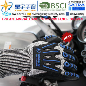 Cut-Resistance and Anti-Impact TPR Gloves, 15g Hppe Shell Cut-Level 3, Sandy Nitrile Palm Coated, Anti-Impact TPR on Back Mechanic Gloves pictures & photos
