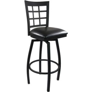 Metal Window Back Barstool with Vinyl Swivel Seat pictures & photos