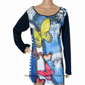 Women Clothes with Digital Printed Fashion T-Shirt (HT7023)