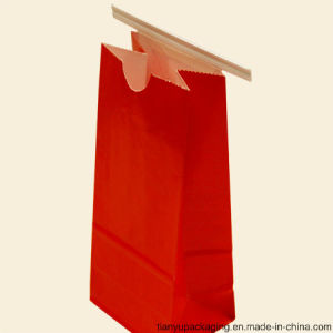 Red Color Square Bottom Kraft Paper Bag pictures & photos