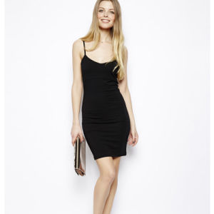 Best Sell Lady Black Spaghetti Strap China Dress (JK043)