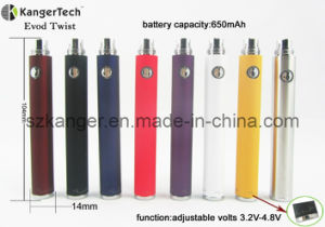E Cigarette Adjustable Volt Battery, Evod Twist EGO Thread Battery pictures & photos