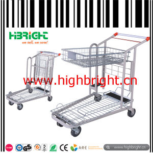 Medium Duty Foldable Supermarket Warehouse Hand Trolley pictures & photos
