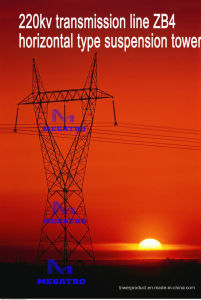 Megatro 220kv Transmission Line Zb4 Horizontal Type Suspension Tower pictures & photos