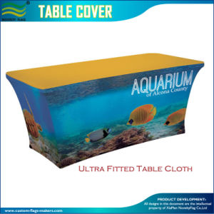 8FT Spandex Polyester Logo Printed Stretch Table Cover (M-NF18F05020) pictures & photos