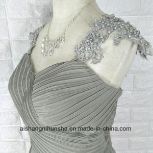 Lace Appliques Beaded Cap Sleeves Chiffon Long Dress Bridesmaid Dresses pictures & photos