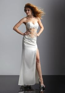 Sweet Heart White Satin Sexy Slide Full Length Long Evening Dresses (ED0302) pictures & photos