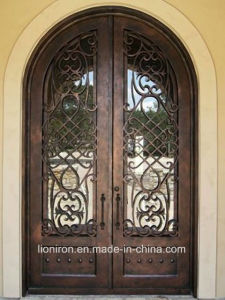 Hand-Crafted Security Wrought Iron Front Doors for House pictures & photos