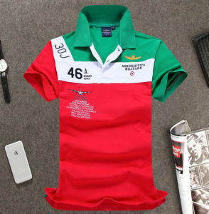 Manufacturer High Quality Short Sleeves Contrast Color Embroidery Polo Shirt pictures & photos