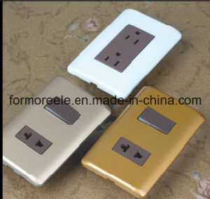 15A ABS Brown South America Venezuela 2 Flat Electrical Socket pictures & photos