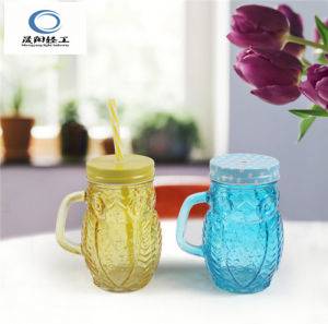 Colored Drinking Glass Mason Cup with Metal Lid and Straw pictures & photos