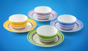 Porcelain Dinnerware & Kitchenware with Colorful Circles